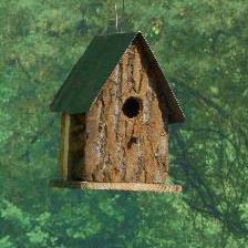 BKTRBH bark tin roof birdhouse